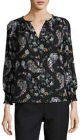 Rebecca Taylor Jewel-Neck Floral-Print Blouse