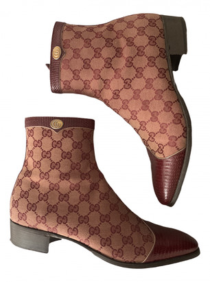 Gucci Burgundy Cloth Boots