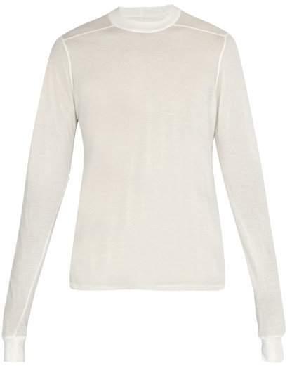 Rick Owens Semi Sheer Long Sleeved Cotton Top - Mens - White