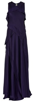 Maison Rabih Kayrouz Long ruffled satin dress
