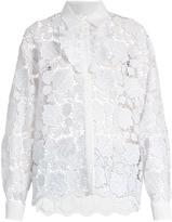 No.21 NO. 21 Ruffle-trimmed guipure-lace shirt