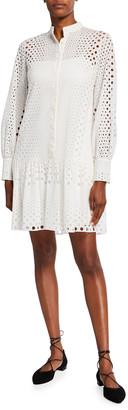 Akris Punto Cotton Eyelet Embroidered Shirtdress