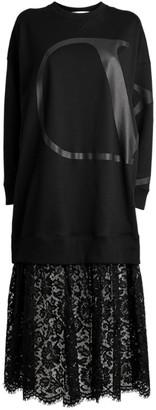 Valentino Lace Trim Sweatshirt Midi Dress