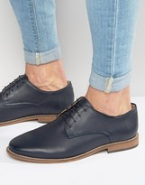 Asos Lace Up Shoes In Navy Leather