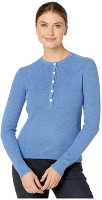 Lilla P Cotton Modal Waffle Stitch Henley Sweater (Harbor) Women's Sweater