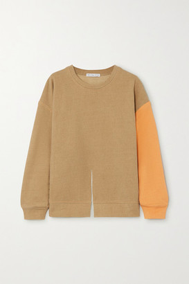 REJINA PYO Charlie Two-tone Cotton-jersey Sweatshirt - Neutral