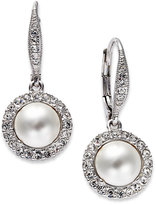 Eliot Danori Earrings, Rhodium-Plated Framed Imitation Pearl Pave Drop Earrings