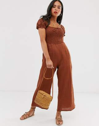 Faithfull The Brand Faithfull winnie linen jumpsuit-Brown