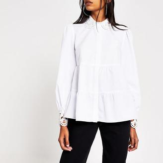 River Island White embroidered collar smock shirt