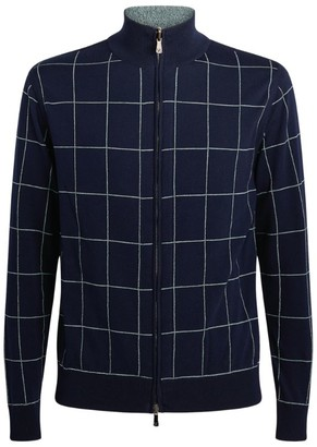 Isaia Check Zip-Up Sweater