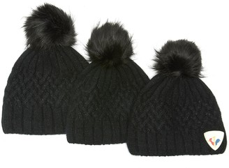 Rossignol Cable knit angora wool pom pom beanie pack
