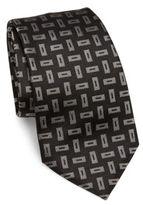 Armani Collezioni Nero Woven Geometric Silk Tie