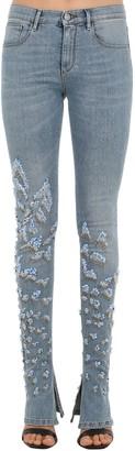 Roberto Cavalli Embellished Flared Stretch Denim Jeans