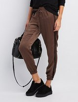 Charlotte Russe Striped-Side Silky Jogger Pants