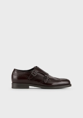 Giorgio Armani Brushed Leather Monkstrap Shoes With Perforations