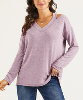 Suzanne Betro Weekend Women's Tunics 101LAVENDER - Lavender Long-Sleeve Cutout V-Neck Top - Women