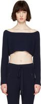 Baja East Navy Cashmere Off-the-shoulder Sweater