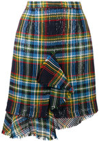 Marco De Vincenzo asymmetric plaid skirt - women - Cotton/Polyester - 40