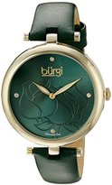 Burgi Women's BUR151GN Yellow Gold Quartz Watch With Green Diamond Dial And Green Leather Strap