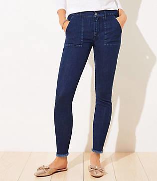 LOFT Utility Skinny Jeans in Dark Indigo Wash