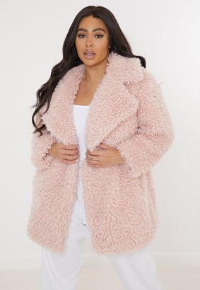 Missguided Plus Size Pink Curly Borg Coat