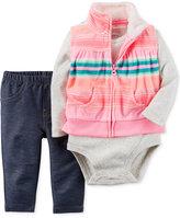 Carter's Baby Microfleece Girls' 3-Pc. Striped Vest, Bodysuit & Denim Leggings Set