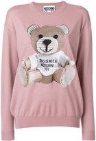 Moschino Teddy Bear Print Wool Crewneck Sweater