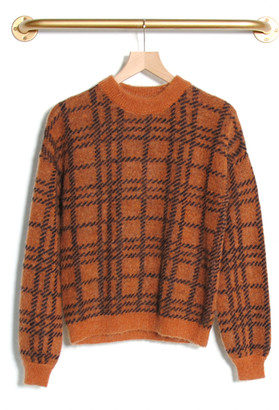 Le Mont St Michel Sadie Check Sweater Curry - S | wool | brown - Brown/Brown