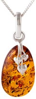 Be Jewelled Be-Jewelled Amber Leaf Motif Pendant Necklace, Cognac