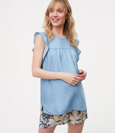 LOFT Petite Maternity Chambray Pintucked Flutter Shell