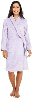 Lauren Ralph Lauren So Soft Clipped Herringbone Pattern Short Shawl Collar Robe (Lavender) Women's Robe