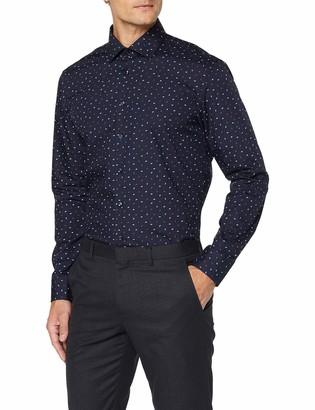 Seidensticker Men's Slim Fit Langarm mit Business Kent-Kragen Bugelleicht Druck-100% Baumwolle Formal Shirt