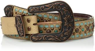 Nocona Belt Company Belt Co. Women's Turquoise Buck Copper Stud Buckle Belt