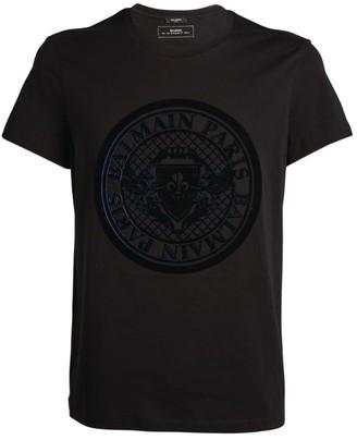 Balmain Velvet Medallion Logo T-Shirt