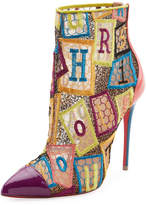Christian Louboutin Gipsybootie Letter Blocks Red Sole Ankle Boot