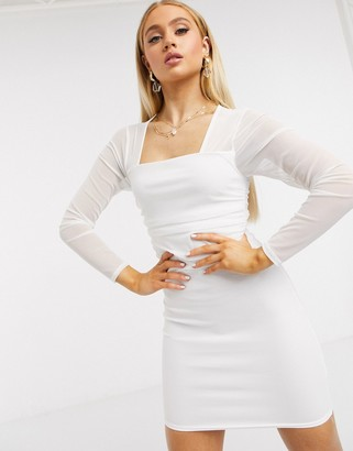 Femme Luxe square neck sheer sleeve bodycon dress in white