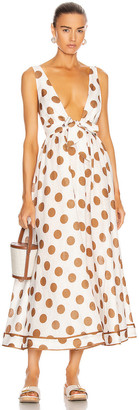 Zimmermann Empire Tie Front Long Dress in Tan Dot | FWRD