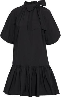 GOEN.J Flared Pussy-bow Gathered Poplin Mini Dress