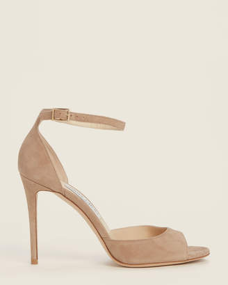 Jimmy Choo Nude Annie Ankle Strap Suede Sandals
