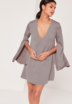 Missguided Open Split Sleeve Dress Grey