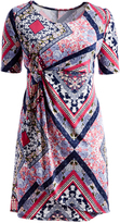 Glam Pink Abstract Faux Wrap Empire-Waist Dress - Plus