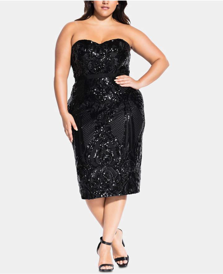 Plus Size Black Sequin Dress - ShopStyle