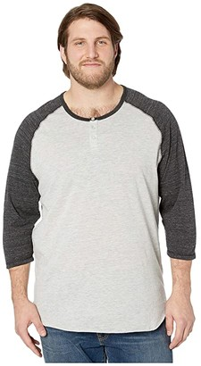 Alternative Big Tall Eco Jersey 3/4 Sleeve Raglan (Eco Black) Men's Clothing