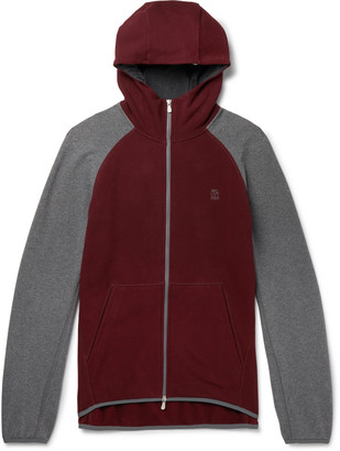 Brunello Cucinelli Colour-Block Fleece-Back Stretch-Cotton Jersey Zip-Up Hoodie