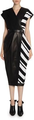 Proenza Schouler Cap-Sleeve Leather & Knit Wrap Dress