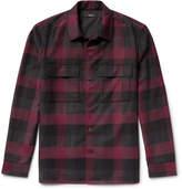 Theory Mory Buffalo-checked Virgin Wool Overshirt - Claret