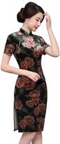 Angcoco Womens Chinese Traditional Apparel Angcoco Women's Half Sleeve Retro China Qipao Cheongsam Dress