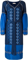 Tory Burch embroidered midi dress - women - Silk/Polyester - 0