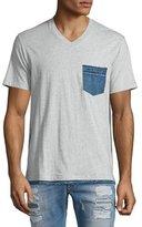 Diesel Bascila Short-Sleeve Denim-Trim T-Shirt, Gray