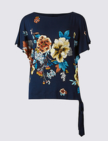 Per Una Floral Print Tie Side Flared Sleeve Blouse